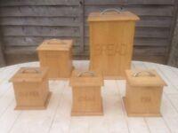 Kitchen wooden storage boxes