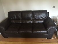 3 seat dark brown leather sofa/couch