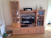 13 part Danish Beech wall unit / TV cabinet / storage incl lights, can be rebuilt to any size/shape