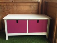 Childrens bedroom toy drawers.Revrsible drawers either in white or Purple.