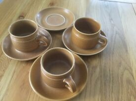 RETRO DENBY , Cups and saucers, used,