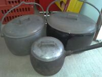 3 Large Cast Iron Pans Hobo, Wild Camping, Gypsy open fire pans, 10, 23 & 32 pints