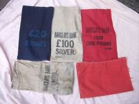 5 Old Cloth Bank Money Bags. Selling as a lot. Price listed is for ALL 5