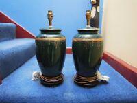 Pair of Beautiful Green and Gold Ceramic Lamps