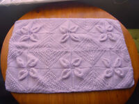 "Hand knitted lilac baby leaf patterned baby blanket 20""x 30"""