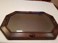 Antique mirror, dark oak wood , very good condition.