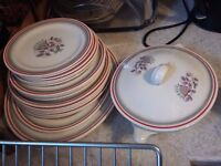 large grindley retro vintage dinner service in fantasia pattern includes plates, platters, tureen