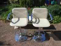 Bar Stools x 2 Rise and Fall. Chrome and Cream