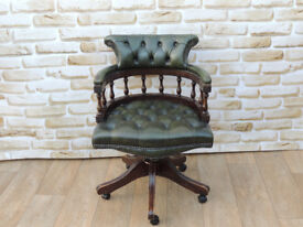 Green Captains chair with dark mahogany frame (Delivery)