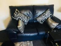 Genuine Leather 3+2 seater sofas. Navy Blue. Large, solid and heavy .