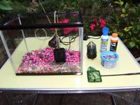 Small fish tank with accessories, excellent condition