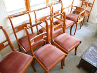 8 DINING ROOM CHAIRS INCLUDING 2 CARVERS. GOOD CONDITION FOR AGE. A FEW LIGHT SCUFFS.