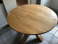 110cm Modern Round Solid Oak Dining Table from Next and Four Chairs