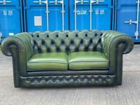 Beautiful Chesterfield Thomas Lloyd Green Leather 2 Seater Sofa