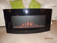 BLACK GLASS WALL MOUNTED CURVED FIRE 3 SETTINGS WITH REMOTE CONTROL
