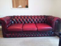 Chesterfield leather 3seater and two seater sofas.