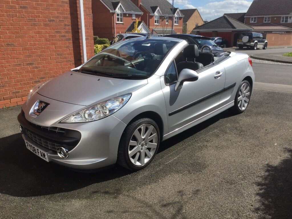 2008 peugeot 207 cc 1 6 gt silver full black leather interior 55000 miles fsh in. Black Bedroom Furniture Sets. Home Design Ideas
