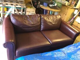 2x Matching Red Leather Sofas