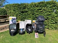 Joie Chrome Complete Travel System, Stroller, Carry Cot, Car Seat, Isofix and Extras. Black. In VGC.