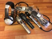 3x Professional DJ Microphones ( sennheiser Shur & Astra Stand & newmark Headphones & Lots Leads
