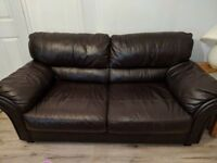 BROWN LEATHER 3+2 SEATER SOFAS FOR SALE - MUST GO ASAP - FREE DELIVERY SOME AREAS - £325