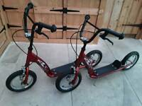 2 X BMX SCOOTERS SMALL WHEELS .STRONG STURDY FRONT & BACK BRAKE & STAND £ 35 EACH OR £ 65 THE PAIR