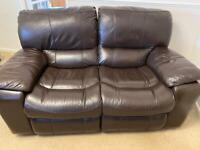 LEATHER Chocolate brown electric recliner 2 x 2 seater