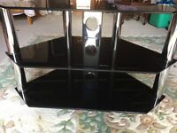 Black glass and Crome TV stand