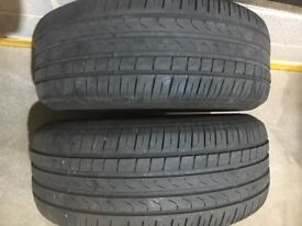 2x 245 50 18 Pirelli run flat tyres