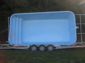 Brand new 6.6m x 3.8m pool with 10 metre trailer + brand new fully assembled glass fibre pod