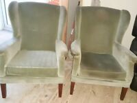 1 Pair of Green Velvet Original Parker Knoll Wing Back Chairs