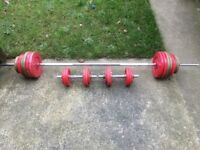 SOLID BARBELL AND SET OF SOLID BAR DUMBELLS WITH 80KG OF WEIDER CAST IRON WEIGHTS