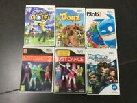 Set of 6 Wii games Just Dance, Just Dance 2,My Sims Agents,We love golf ,Dogz, de Blob 2
