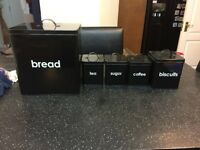 hardly used FREE DELIVERY BLACK KITCHEN SET COFFEE TEA SUGAR BISCUITS TINS JARS BREAD BIN CROCK