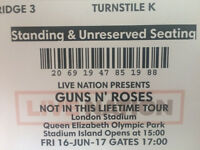 2 x Standing Tickets Guns n' Roses Olympic Stadium Friday 16th June inc. Special Delivery