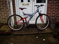 "FULL SUSPENSION MOUNTAIN BIKE, 18"" FRAME, 26"" ALLOY WHEELS, FULLY SERVICED."