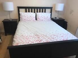 Ikea Hemnes Kingsize Bed (no mattress) & Side Tables