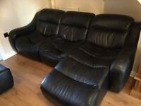 Black Leather 3 Seater Sofa and Chaise