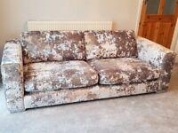 Grey crushed velvet three seater sofa
