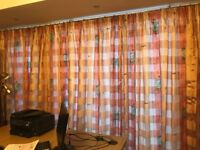 VOILE FULLY LINED CURTAINS (5 WIDTHS) INCLUDING TIEBACK ORANGE YELLOW AND GREEN