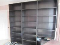 3 x IKEA dark wood BILLY bookcase with extension shelf, 235 x 80 x 28cm