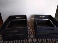 Pair of black wooden crates
