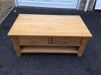 Oak Coffee Table TV Stand Cabinet