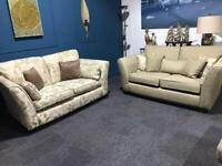 Cream / Mocha suite small 3 seater sofas x 2