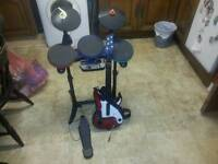 Wii guitar and drums and mat untested