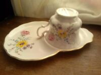 'NEW' CHINA MATCHING TEA CUP AND PLATE WITH FLOWER PATTERN.
