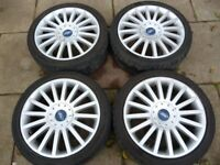 """FORD 18"""" ST 5 STUD ALLOY WHEELS WITH DECENT TYRES"""