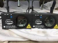 LANTA QUASAR SAPPHIRE 2BLUE LASERS 200MW - 2 PALM SIZE LASERS IN A FLIGHT CASE