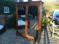 Edwardian solid oak bevelled mirrored linen press and hanging unit