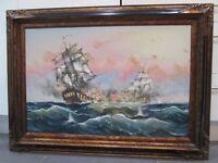 large vintage oil painting galleon ships signed j harvey